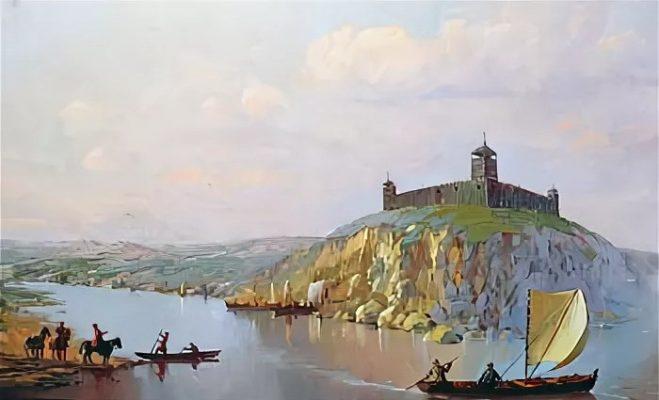 Камышинская крепость на полотне Павла Бутяева (высокий три столетия назад левый берег реки Камышинки)