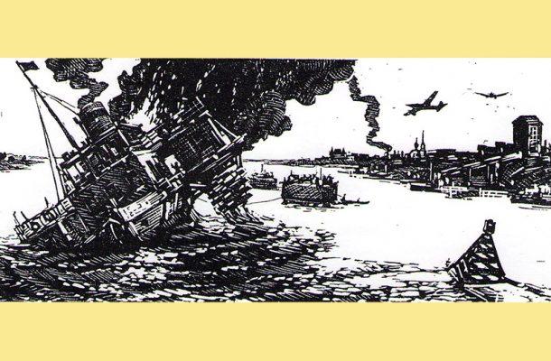 Павел Бутяев. Гибель парохода «Союзный ЦИК» (гравюра)