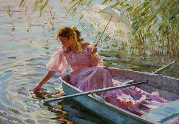 «Девушка на лодке» (художник Александр Аверин)