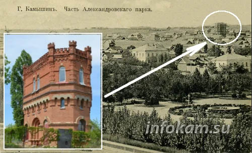 Старинная почтовая открытка с видом Камышина. Водонапорная башня видна в углу фотографии