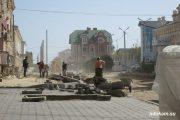 Улица Октябрьская. Идут ремонтные работы