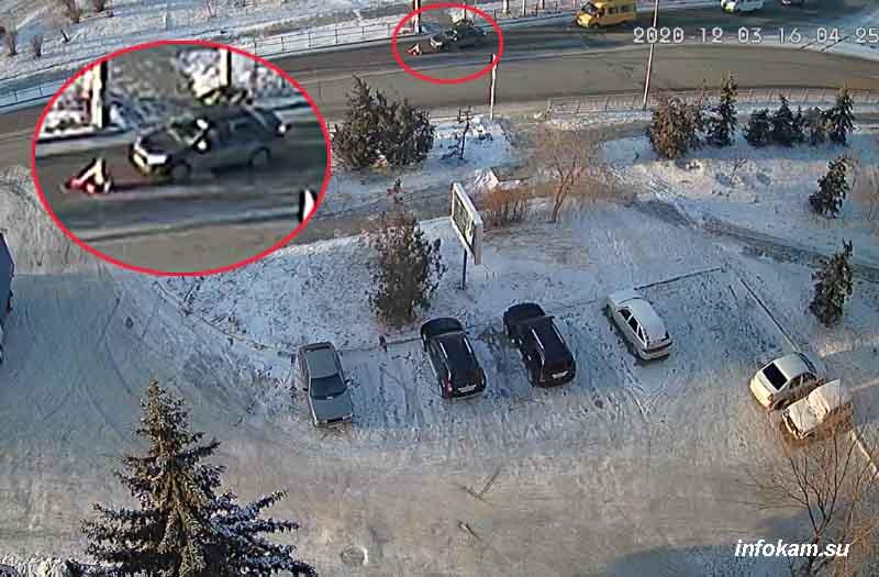 Скриншот момента ДТП с видеозаписи (дано увеличение)