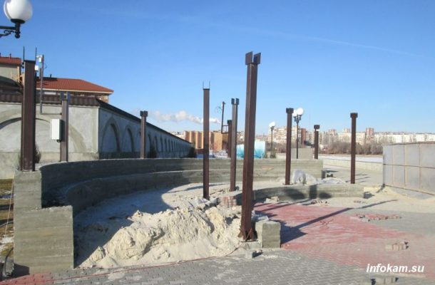 Будущий амфитеатр с видом на Волгу