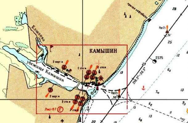 Камышин на карте-лоции (судоходной карте)