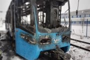 Сгоревший трамвай (ГУ МЧС по Волгоградской области)