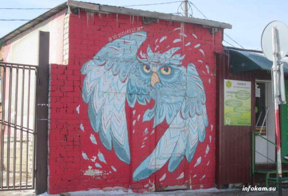 Камышин. Сова, которая «появилась» на кирпичной стене городского рынка