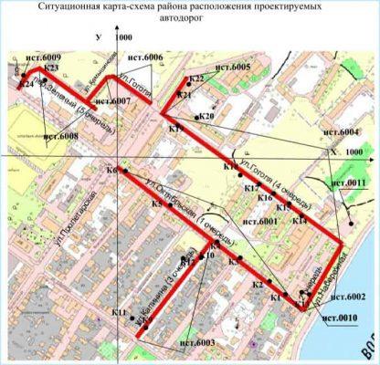 Ситуационный план ремонта дорог исторического центра Камышина
